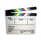 Clapper board with coloured chevrons